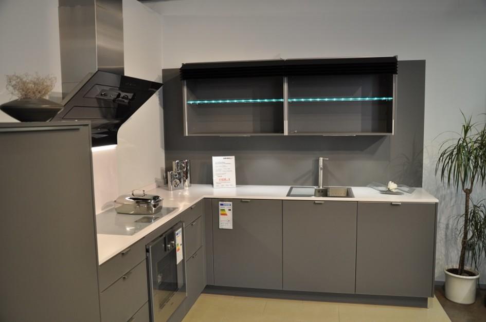 h cker av5095 gl designglas lavagrau k che4you. Black Bedroom Furniture Sets. Home Design Ideas